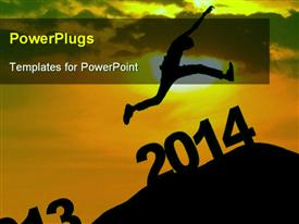 PowerPoint template displaying a person jumping towards the new year