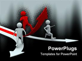 PowerPoint template displaying man climb red arrow. Isolated 3D depiction