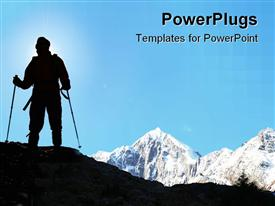 PowerPoint template displaying climber in the snowy mountains on sky background