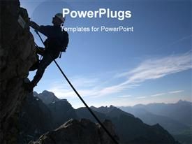 PowerPoint template displaying extreme sport - silhouette of a climber