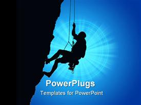 PowerPoint template displaying high details depiction of rock climber
