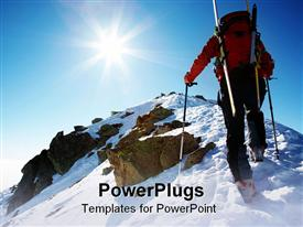 PowerPoint template displaying a person climbing a mountain on a sunny day