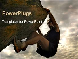 PowerPoint template displaying a person climbing a difficult mountain