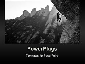 PowerPoint template displaying rock climber struggles to hold on
