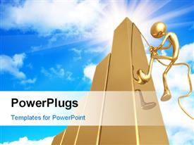 PowerPoint template displaying human figure climbing a 3D golden bar with sky in the background
