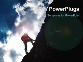 PowerPoint template displaying silhouette of a man during an ascension in Retezat mountains