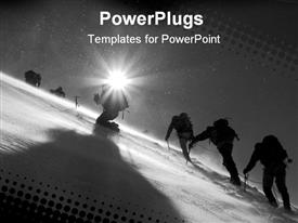 PowerPoint template displaying sun shining on figures climbing snowy mountain