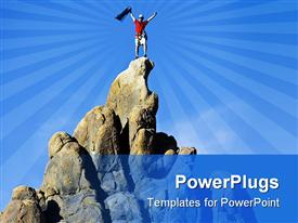 PowerPoint template displaying climber on the summit of a rock spire in the Sierra Nevada Mountains California on a summer day