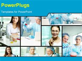 PowerPoint template displaying collage of clinicians studying new substances in chemical laboratory in the background.