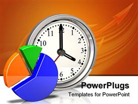 PowerPoint template displaying yellow, green and blue pie chart, silver metallic clock showing four o'clock on reflective white surface and orange background with arrow