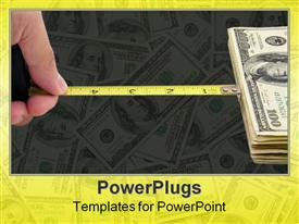 PowerPoint template displaying a measuring tape connected to dollars