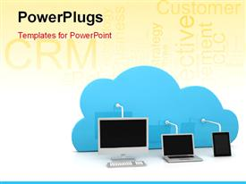 PowerPoint template displaying digital devices connected to a cloud with CRM keywords in the background