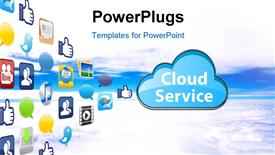 PowerPoint template displaying the representation of cloud computing with a number of apps