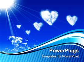 PowerPoint template displaying white heart clouds and sun on blue sky with wave and stripe border, love