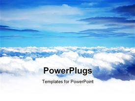 PowerPoint template displaying fluffy white clouds against blue sky background