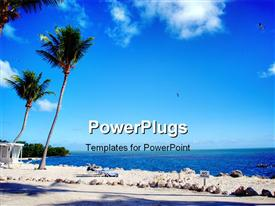 PowerPoint template displaying detail of the wonderful Florida Coast in Islamorada in the background.