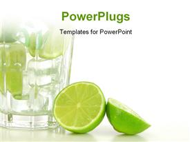 PowerPoint template displaying cocktail or lemonade with sliced lime fruit in the background.