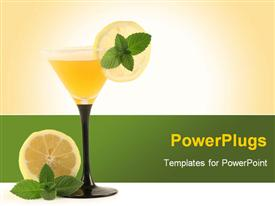 PowerPoint template displaying elegant glass of cocktail with lemons and mint on champagne and green background