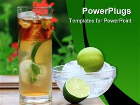 PowerPoint template displaying mojito cocktail with lime, ice and mint leaves