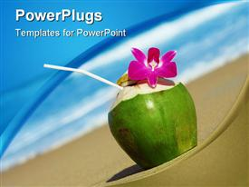 PowerPoint template displaying view of nice fresh tropic cocktail decorated with orchid on sandy beach in the background.