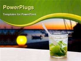 PowerPoint template displaying cocktail Mojito in Balearic island sunset and palm trees