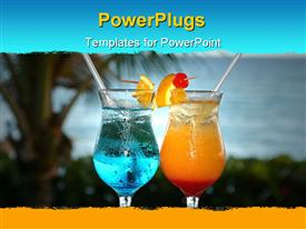 PowerPoint template displaying two tropical cocktails with island background, vacation, travel