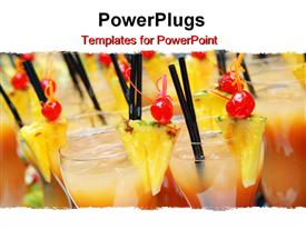 PowerPoint template displaying tropical drinks with pineapple and cherry garnishes and straws, alcoholic beverages, bartending, hospitality