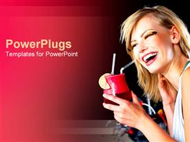 PowerPoint template displaying girl laughing with cocktail in hand