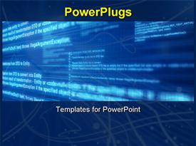 PowerPoint template displaying light computer code on blue screen with layers and depth in the background.