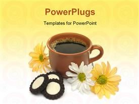 PowerPoint template displaying beautiful coffee breakfast with cookies and flowers. look at my gallery for more delicious meals