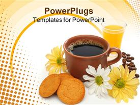 PowerPoint template displaying beautiful coffee breakfast with cookies, orange juice, coffee beans and flowers