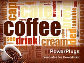 PowerPoint template displaying coffee Artistic Menu as a Abstract Background in the background.