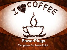Coffee cup coffee smoke and a message I heart coffee drawn with dark coffee beans powerpoint template