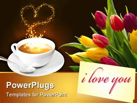 PowerPoint template displaying yellow and pink colored tulips beside a cup of coffee
