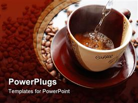 PowerPoint template displaying coffee making. Hot water flows into cup with coffee