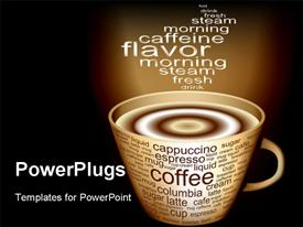 PowerPoint template displaying rising steam from coffee cup over black background