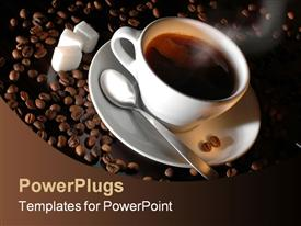 PowerPoint template displaying hot cup of coffee with a spoon and three cubes of sugar