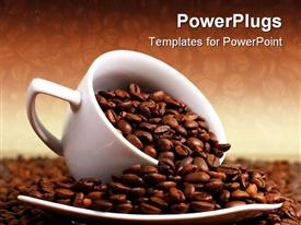 PowerPoint template displaying cup of coffee full with roasted beans in the background.