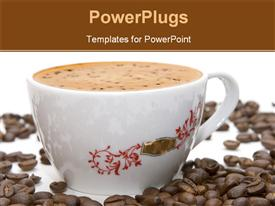 PowerPoint template displaying cup of coffee and grains over white (series Glass Cup Drink)