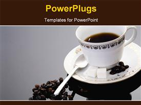 PowerPoint template displaying a white tea cup and saucer with coffee beans