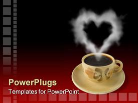 PowerPoint template displaying floral tea cup and saucer with steam in heart shape