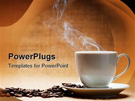 PowerPoint template displaying a hot white cup of coffee with beans on the side and brown background