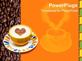 PowerPoint template displaying fresh cup of coffee on coffee beans and orange background with room for text