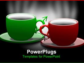 PowerPoint template displaying green and red coffee mugs with saucer on black background