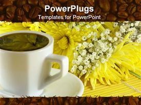 Morning cup of coffee with flowers on the table powerpoint template