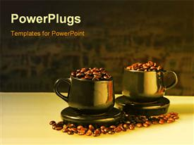 PowerPoint template displaying two shiny cups filled with coffee beans with coffee beans on surface