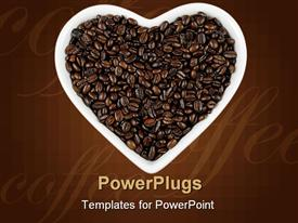 PowerPoint template displaying roasted coffee beans in a white heart shaped dish