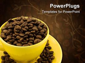 PowerPoint template displaying yellow coffee cup with beans isolated in the background.