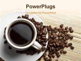 PowerPoint template displaying white cup of coffee and beans over bamboo background
