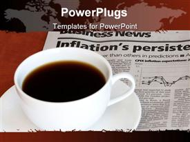 PowerPoint template displaying coffee cup on business section of newspaper